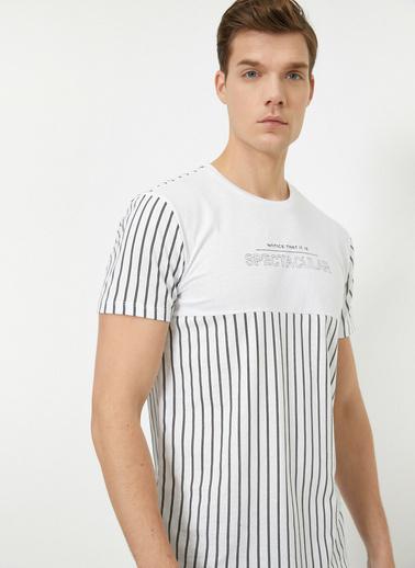 Koton Bisiklet Yaka Çizgili Yazılı Baskılı T-Shirt Beyaz
